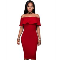bell cocktail dress - Slash Neck Party Prom Tight Midi Dress Fashion Off The Shoulder Sexy Cocktail Bandage Bodycon Dresses