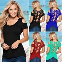 Wholesale New Arrivals Fashion Women Sexy Summer Short Sleeve Lace Blouse Casual Tops T Shirt Blouse and retail CL105