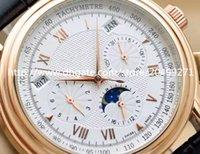 Hot Classique affaires de mode vintage distingué de luxe de précision importés multi-fonctionnel calendrier automatique phase de lune Mens montre ceinture