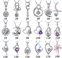 Wholesale 925 Sterling Silver Pendant Necklace Fashion Charms necklaces Heart shaped Crystal pendants High quality jewelry