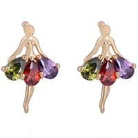 Stud baby piercing earrings - 18K Yellow Gold Plated Clear Ballet Dancing Girl Zircon CZ Anti Allergic Piercing Stud Earrings Jewelry for Women Children Girls Baby Kids