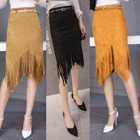 belt with fringe - 2016 Elegant Fashion Womens Ladies Sexy Black Coffee Tassel Fringe Bodycon Midi Skirts with Belt Size M L XL Freeshipping QZ3012