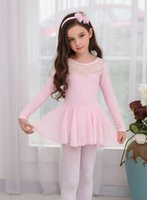 Wholesale New Girls long sleeve lace dance dress leotard with chiffon skirt ballet costume