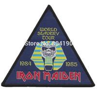 Wholesale 4 quot Iron Maiden World Slavery Tour Woven iron on Patch Judas Priest Metallica ACDC Motorhead NWOBHM Tank band