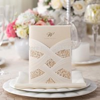 Wholesale wishmade card Pocket Laser Cut Wedding Invitation Card Free Print CW060