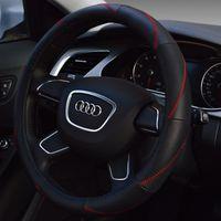 Wholesale Manufacturers selling car steering wheel covers Leather car set head layer cowhide car steering wheel set