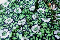 al por mayor blanca tela que acolcha-1 metro de tela de algodón VB con hojas de verano blanco verde floral, hecho a mano DIY vestido de patchwork acolchado Tilda tela CR-889