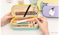 Wholesale Large capacity animal canvas pencil cute creative students children school supplies Korean simple stationery storage box learning supply