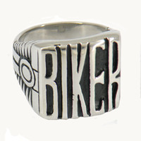 Wholesale STAINLESS STEEL punk vintage mens Alphabet letters BIKER JEWELRY MOTOR CYCLE ENGINE BIKER RING