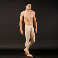 Cheap Wholesale-Men See Through Jeans Mesh Low Rise Long johns Thermal Pants Underwear Trousers Buttons
