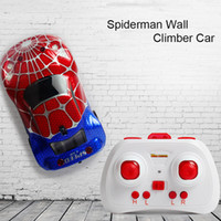 al por mayor wall climber car-Spiderman Capitán América Wall Floor Climber Radio Control Remoto RC Escalada Car Racing Ejecutar Juguete Electrónico