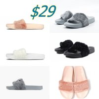 ballet slippers black - 2016 Fashion women rihanna leadcat fenty slippers indoor slide sandals scuffs Four Colours Shoes US5 with original logos