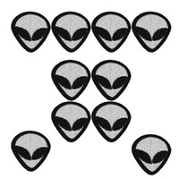 alien clothes - 10pcs Alien patches punk badges for clothing iron embroidered patch applique iron on patches sewing accessories for DIY clothes