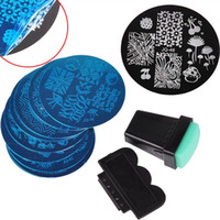 Wholesale 10Pcs Nails Plate Stamper Scraper Stainless Steel Stamper Plates Set Art Stamp Template Image Nail Art Tools