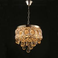 al por mayor iluminación de la lámpara de cristal de época-Vintage K9 Crystal Chandelier Lámpara de Oro Tradicional Iluminación lampara de cristal bohemia Lámparas Colgantes para Sala de Hotel