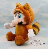 al por mayor mapache de peluche-Super Mario Bros Raccoon Mario peluche relleno de peluche Tanooki Mario juguete 17,8 cm