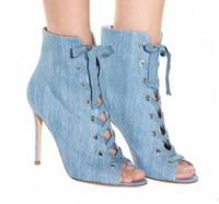 2017 bottes en denim bleues de mode à lacets bottines à talons peep toe sandales bottes femme botas chaussures de soirée sext talon mince talons hauts