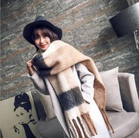 Wholesale Long section scarf shawl female autumn and winter new large thermal thickening tassel scarf scarf spell color students