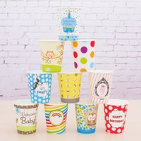 Wholesale Paper Party Drinking Cups Baby Pink Polka Dot Striped Bee Rainbow Paper Drinking Cups Colros Birthday Cups