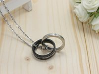 Wholesale The new fashion and personality double diamond ring titanium steel couple necklace