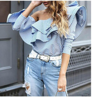Wholesale Women Fashion SHort Shirts Summer Long Sleeve Printed Striped Lady s Sexy Off Shoulder Slash Neck Shirts Street Style Casual Tops Blue