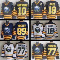Wholesale cheap Throwback Danny Gare jersey Pierre Turgeon Alexander Mogilny Dale Hawerchuk blue white NHL Ice Hockey Jerseys