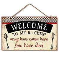 Wholesale Wood plauqe sign Welcome to My Kitchen Decorative Wood Wall Plaque with hemp Rope for Hanging sign