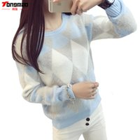 argyle sweaters - Brand Woman Sweater Pullover Autumn Winter Fashion Casual O Neck Long sleeve Argyle Candy Pullovers Pull Femme Sweter Mujer