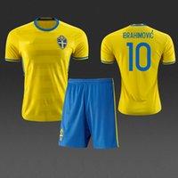Wholesale Zlatan Ibrahimovic Euro Sweden home yellow jersey soccer uniforms football kits Camiseta de futbol maillot de foot completini di calcio