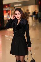 Wholesale Fashion Fox Fur Collar long Slim Coats Winter women jacket female Blends woolen warm ladies overcoat Colors
