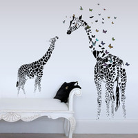 american quotes - new cartoon DIY Art Sticker Home Wall Decor PVC Wall Sticker Decal Quote Removable horse Giraffe Fawn Butterf Living room bedroom background
