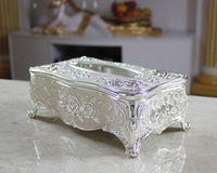 Wholesale High class european style large carton Creative zinc alloy tissue box KTV household items