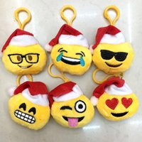 Wholesale 2016 New Christmas gift cm QQ Emoji Smiley Pillow Small Plush Doll Keychain Pendant Emotion Yellow hat Expression Stuffed Toys