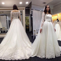 Wholesale Vintage Lace Wedding Dress Sheer Off shoulder Long Sleeve Sweep Train Bridal Gowns With White Appliques Bride Dress