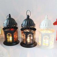 Livraison gratuite blanc noir château creux sculpté bougies porte en fer forgé bougies en verre pour Noël décoration de mariage ornements barre de café