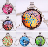 Wholesale 6 designs Alloy Vintage Living Tree of Life Glass Cabochon With Natural Stone Bronze Chain Pendant Necklace Nice Jewelry Accessary A110