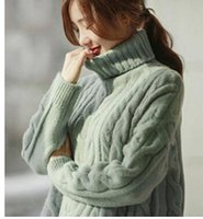 Wholesale Korean winter turtleneck size loose coarse wool turtleneck sweater long sleeved sweater thickening twist