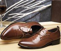Wholesale New Men Dress Shoes Spring Business Oxfords Lace up Flats Fashion Large Size Single Wedding Leather shoes