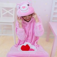 adult care bear costume - High Quality Flannel Pink Lucky Care Bear Cosplay Anime Easter Onesie Halloween Costumes Adult Unisex Pajamas Jumpsuit Romper