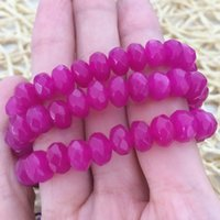 Wholesale High quality pink red ruby jasper x8mm lovely rose faceted roundel jade loose beads diy Jewelry making inch