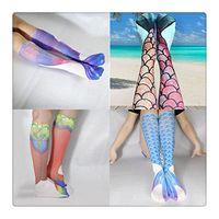 Wholesale 2016 New Mermaid Tail Socks Pattern Cosplay Mermaid Stocking Elastic High Knee Casual Socks Long Fish Scales Socks Stockings
