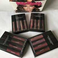 2017 Nouveau kit liquide 4pcs de rouge à lèvres réglé les rouge à lèvres liquides mattes roses rouges nus de l'édition de Brown