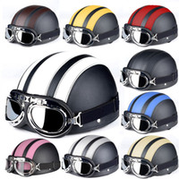 Wholesale The global hot sales Motorcycle Helmets For Harley Open Face Retro Half Moto Helmets With Goggles Leather Scarf Helmet