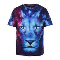 big mens graphic t shirts - Big size d print blue star night solemn lion quality loose mens t shirts graphic tide brand hip hop fat boys mens tshirt