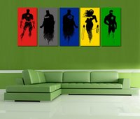 Wholesale Original High tech HD Print Oil Painting Art On Canvas justice league panels set Framed