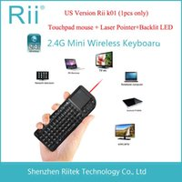 Wholesale Rii mini k01 G Wireless Keyboard Touchpad mouse Laser pointer Backlit Combo for HTPC Tablet Andorid Smart TV Box PC Teclado