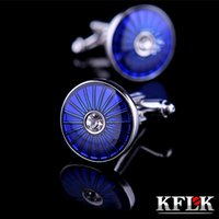 Wholesale 2 Color KFLK Luxury shirt cufflink for mens gift Brand cuff button Crystal cuff link Blue High Quality abotoadura Jewelry