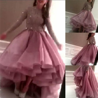 Wholesale 2016 Celebrity oscar red carpet gown a line long sleeve tiered ruffles Tulle Backless Prom Gowns Formal Custom Evening Party Club Wear