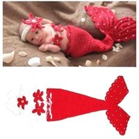 Wholesale Infant Baby Hats Mermaid Baby Sets Newborn Baby Photography for Photo Memory Soft Crochet Knit Accessory Costume Caps for Infants MC0448