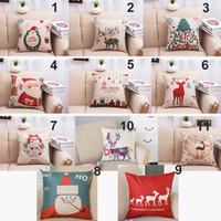 Wholesale Christmas pillow case Christmas tree Santa Claus deer elk cotton linen throw pillow cushion cover pillow cover